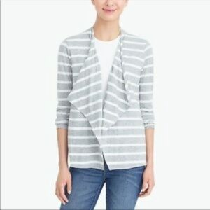 J. Crew Mercantile Gray and White Striped Cardigan
